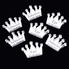 50PCS 2.5*1.9cm Personalized Crown Tranparent Table Centerpieces Engraved Decors Baby Shower Birthday Party Present Gift Favors(China)