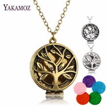 Famous Brand Jewery Bronze/Silver Color with Tree of Life Pattern Locker Aromatherapy Essential Oil Pendant Necklace for Women(China)