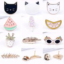 FAMSHIN Free shipping Cute Fruit Cat Sunglass Leaf Orange Pot Ice cream Watermelon Brooch Pins,Fashion Jewelry Wholesale(China)