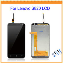 100% Tested Good For Lenovo S820 LCD Display with Touch Screen Digitizer Assembly Black + Tool kits Free Shipping