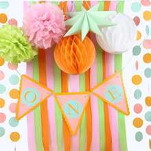 First Birthday Party Decoration Set Party Banner Crepe Paper Tissue Pom Girls Boys Birthday Party 1st Birthday Photo Background
