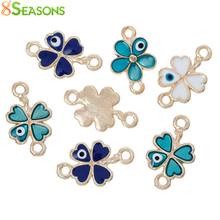 8SEASONS Connectors Findings Four Leaf Clover Connectors Gold color At Random eye of evil Pattern Enamel 20mm x 12mm,10 Pcs(China)