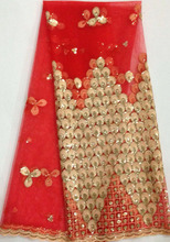 Latest French Nigerian Laces Fabrics High Quality Tulle African Laces Fabric Wedding African French Net Lace Fabric DH888  red