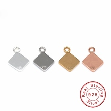10 pcs/lot 8x10mm Real 925 Sterling Silver Square Blank Tag Charms With Ring DIY Jewelry Accessories STA-8x10mm(China)
