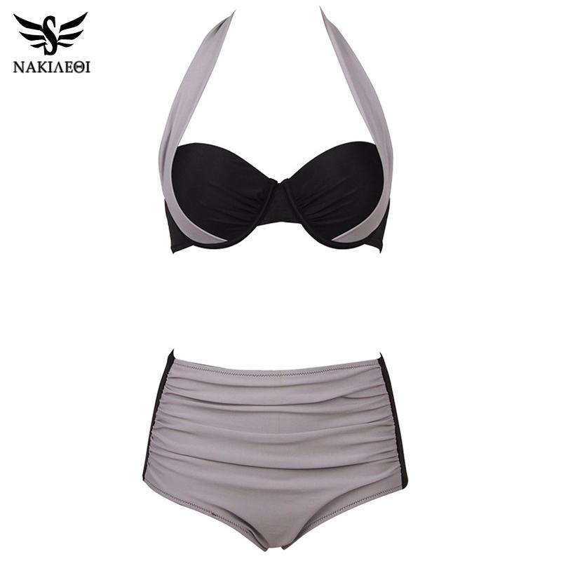 NAKIAEOI 19 New Sexy Bikinis Women Swimsuit High Waisted Bathing Suits Swim Halter Push Up Bikini Set Plus Size Swimwear 4XL 25