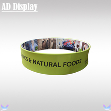 8ft*2ft Expo Booth Advertising Sign Display Stretch Fabric Circle Hanging Banner Stand With Full Color Printing