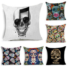 Day of the Dead style Cushion Cover Horrible Skull Pillow Cover Polyester Music Skull  Invisible Zipper Square Pillow case