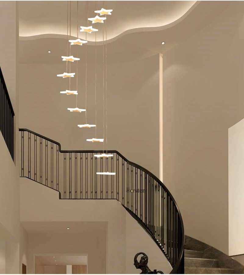Modern Duplex Staircase LED Pendant Lights Personality 18 Stars Hanging Lamps Minimalist Rotaion Staircase Lamp Living Room Lighting (15)