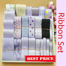 24M Printed Grosgrain Satin Ribbon Lace Fabric Organza Mixed Ribbon Set Light Purple Series DIY Hairbow Making Materials(China)