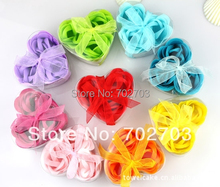 24pcs/lot mixed color gift bowknot wedding favor cleaning bath paper petals rose flower soap