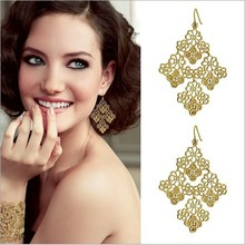 1 pair  Fashion gold chantilly lace chandelier bohemia elegant Womens drop earrings wholesale free shipping