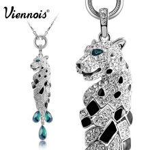 New Viennois Fashion Jewelry Silver Color Sexy Leopard Necklace & Pendants for Woman Full Rhinestone Long Crystal Necklaces