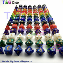 Top Best Promotion 7pc/set dice set  Multi-Sided Dice with marble effect DND and RPG dice game For  Parties Toy Bauble Gift