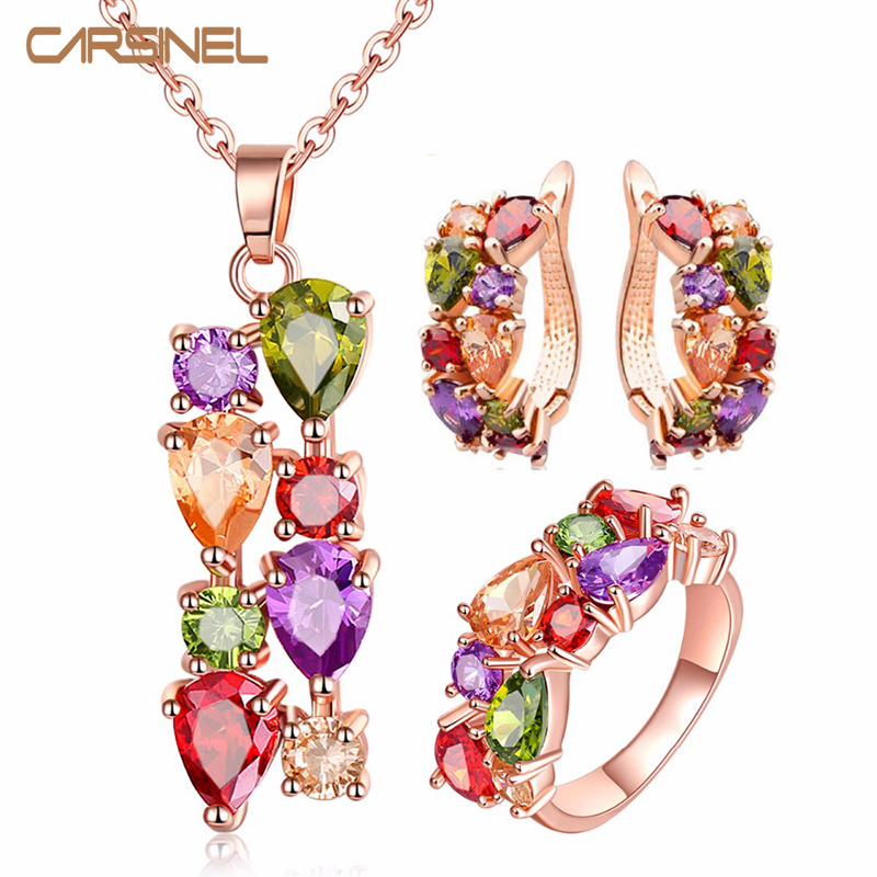 CARSINEL Jewelry-Sets Cubic-Zircon Earrings/ring Rose-Gold-Color Women Wedding for Hypoallergenic title=