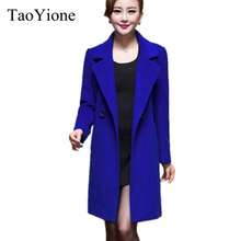 2017 New Fashion Women Woolen Coats High-end Elegant Long Slim Women Winter Jacket Royal Coats&Jackets Plus Size Femininos M-4XL(China)