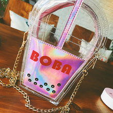 Fashion Summer Beach Bag Coke Package Laser Color Jelly Clear Plastic Bag Women Handbag Small Flap Transparent PVC Sweet Bag3637
