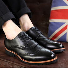 Fashion Cow Leather Men Shoes New Style Genuine Leather Business Casual Shoes British Carve Cuts Out Men Oxfords Shoes(China)
