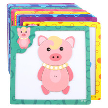 3D Magnetic Figure Puzzle Baby Wooden Toy Puzzle Children 's Designers  Cartoon Children Assembled Toys Educational Toys JSB042
