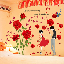 The house full of sweet romance of bedroom the head of a bed wall adornment metope Can the stickers stickers wall stick a ros(China)