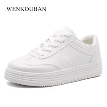 Buy Fashion White Shoes Women Platform Sneakers Causal Shoes Trainers Summer Basket Femme Ladies Flat Sneakers Lace Zapatos Mujer for $13.39 in AliExpress store