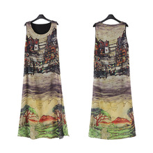 Fashion Summer Women Sexy Long Dress Sleeveless O Neck Vintage House Printed Split Lady Loose Casual Dresses S-4XL -MX8(China)