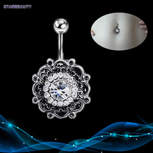 Vintage Flower Navel Piercing, Crystal Belly Button Rings Summer Body Piercing Ombligo, Sexy Navel Piercings Navel Ring(China)