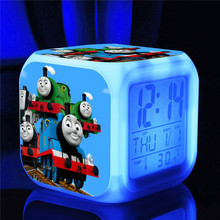 Thomas and Friends Kids Alarm Clock Cartoon Thomas Train Digital Alarm Clock toys Color changing night light clock(China)