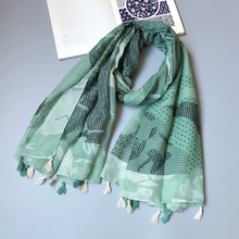IANUS New Taste Women Scarf Green Drawing Pattern Large Shawl Wrap 2017 [3006]
