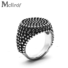 Mcllroy 2017 Fashion Finger Art Antique Silver Retro Titanium Stainless Steel Ring Punk Biker Jewelry Round Ring Men's Ring