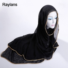 Raylans Women Solid Color Muslim Hijab Turban Scarf Shawl Head Wrap Long Scarves(China)