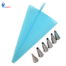 Hot Silicone Icing Piping Cream Pastry Bag + 6 X Stainless Steel Nozzle Set DIY Cake Decorating Tips Cupcake Fondant Sugarcraft(China)