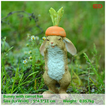Everyday Collection Whimsical Easter Bunny Rabbit carrot hat Garden Springtime Statue Sculpture Outdoor Yard Decoration(China)