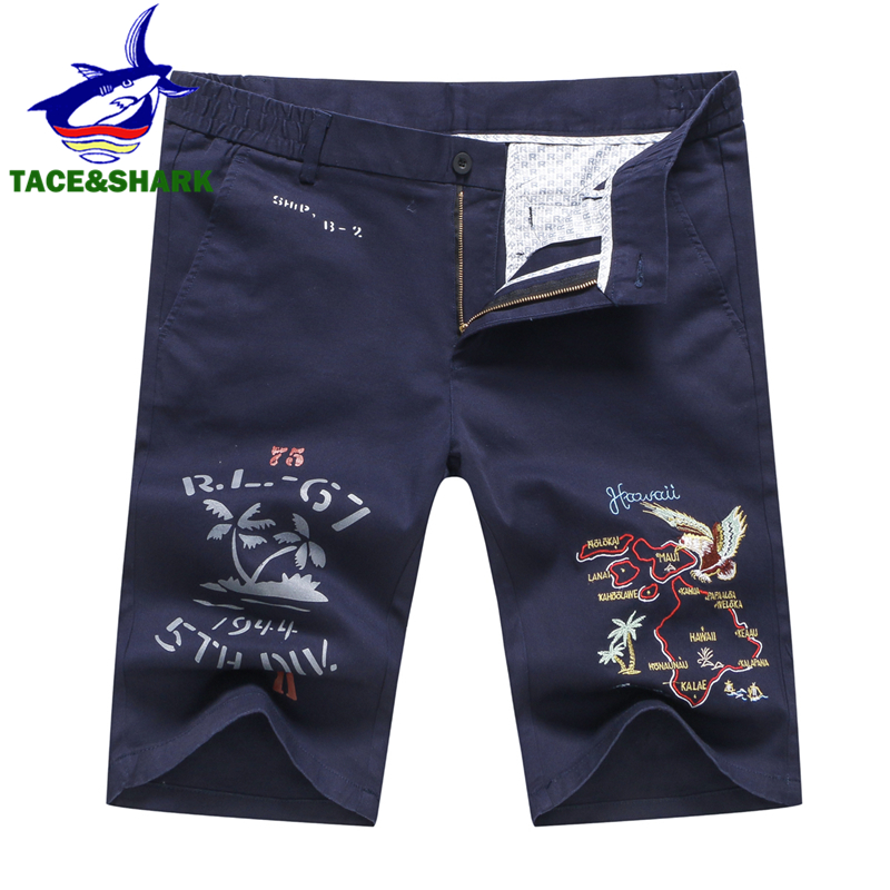 TACE&SHARK Brand Fashion Summer Cotton Casual Eagle Embroidery Shorts Men Knee Length Man Cargo Shorts Shorts Homme 3 Color