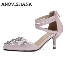 ANOVISHANA Size34-43 Suede Buckle Strap Square Mid Heels Summer Style Womens Sandals Casual Cheap Shoes Woman D310(China)