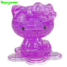 Happyxuan DIY 3D Jigsaw Crystal Puzzle Plastic Kitty Home Decoration Birthday Gift for Children