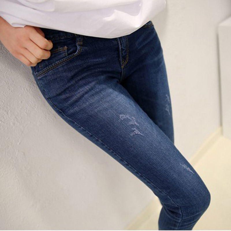 New 2017 Fashion Ladies ripped jeans woman holes denim pants leisure jeans pants for women loose blue female jeans trousersОдежда и ак�е��уары<br><br><br>Aliexpress