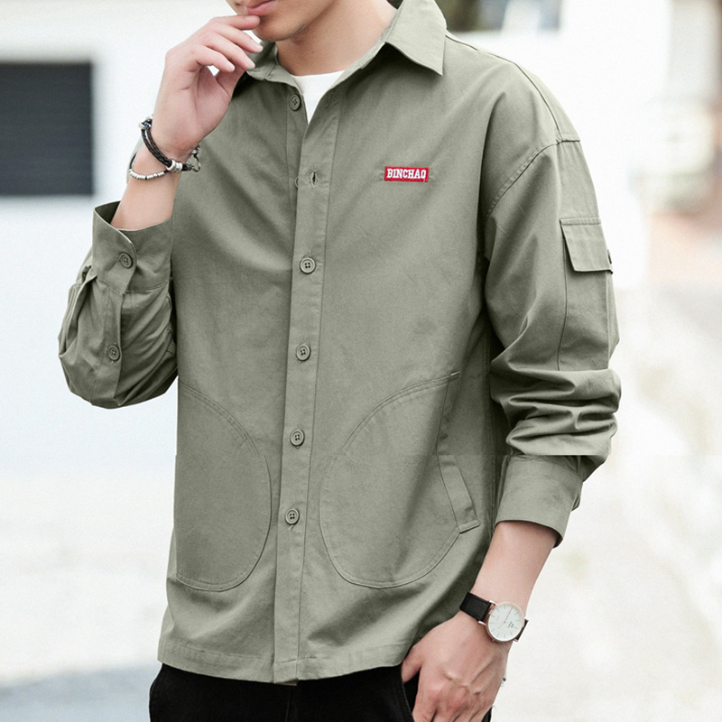Spring New Men's Solid Shirts Korea Style Casual Blouse Short Sleeve Turn Down Collar Coat for Summer 2019 New