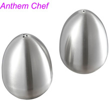 Salt Pigs Cellars Spice Pepper Shaker Stainless Steel Egg Shaped Table Server Kitchen Gadgets Herb Tools NHT027(China)