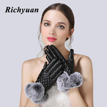 Women Winter Gloves Genuine Fur Autumn Elegant Cotton Leather Glove Real Rabbit Fur Pompom Touch Screen Driver's Gloves Mittens(China)