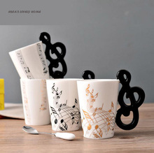 Novelty Creative Musical Ceramic Cup Personality Music Note Milk Juice Lemon Mug Coffee Tea Cup Home Office Drinkware Unique Gif(China)