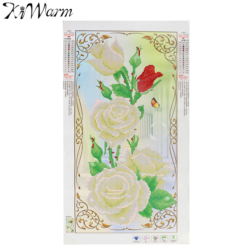 KiWarm 5D Rose Flower Diamond Painting Embroidery Cross Stitch Needlework Kits for Home Decoration Handmade Art Crafts DIY Gift(China (Mainland))