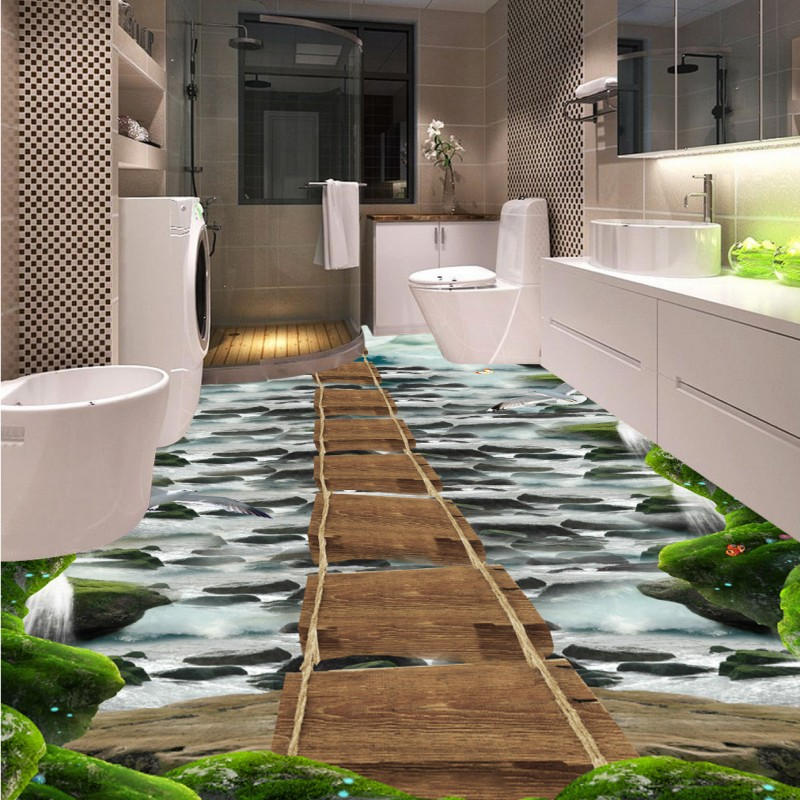 Free Shipping Waterfall stone wooden bridge bathroom kitchen walkway 3d flooring non-slip bedroom living room flooring mural<br>
