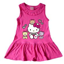Candy Color 100% Cotton Girls Summer Dress Sleeveless Hello Kitty Kids Party Dress Children Girl Frock Designs Kids Clothes