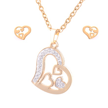Fashion Sell Hot Gold Color Heart Sets Simulation Heart Pendant Necklace and Earrings Stainless steel jewelry Set