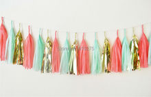 Set of 15 Mixed Mint Coral Gold  Tissue Paper Tassels Wedding Bunting Banner Garland Christmas Baby Shower Party Hanging Favor