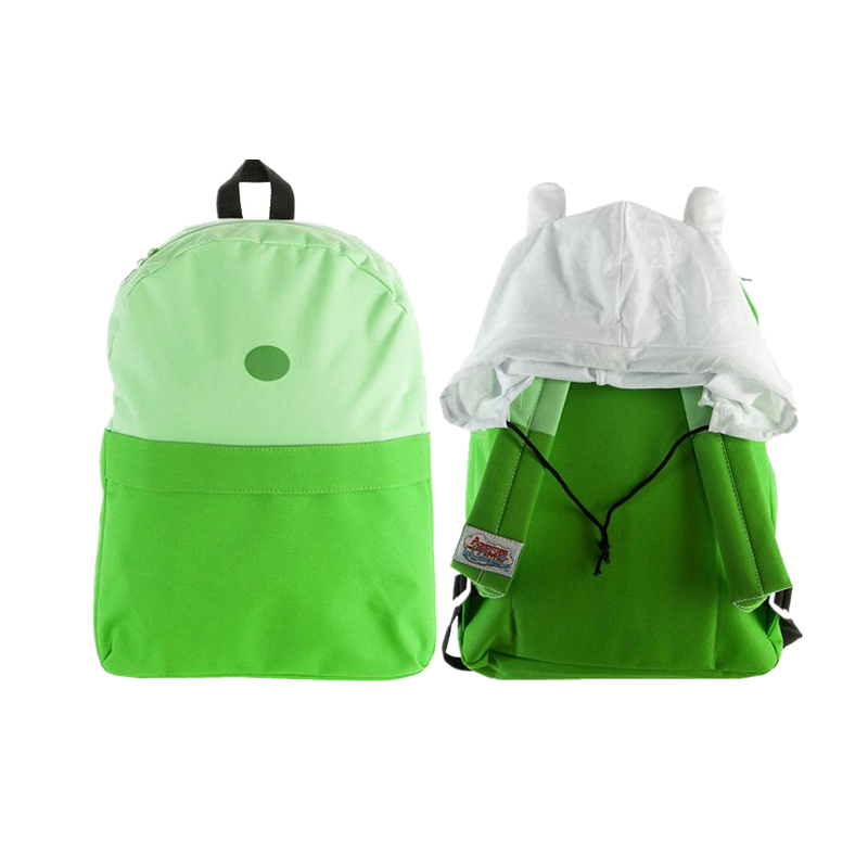 Original Adventure Time Lime Green Finn Hood Backpack School Bag With Hat Backpacks for Boys Girls Casual Schoolbag Knapsack<br>