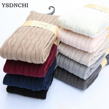 YSDNCHI Autumn Fashion Women Thick Stockings Over Knee Medias Womens Thigh High Elasticity Twist Stripe Stocking Winter 7 Colors
