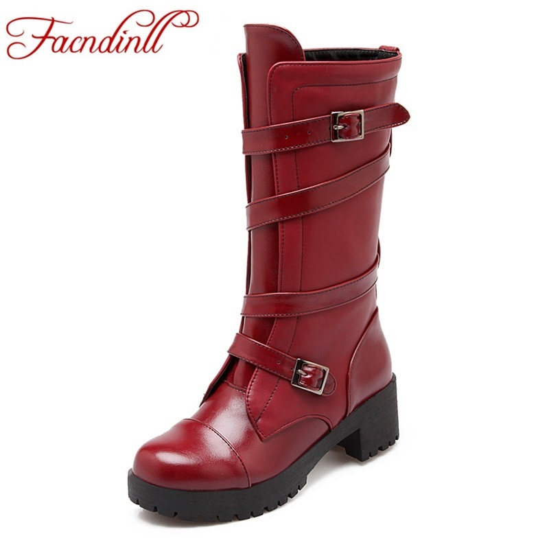 women boots 2017 new fashion leather shoes woman mid calf boots square heels round toe women motorcycle boots plus size 34-42<br><br>Aliexpress