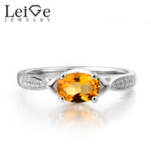 Leige Jewelry Natural Oval Cut Citrine Ring Anniversary Ring Yellow Gemstone Ring 925 Sterling Silver Vintage Rings for Women(China)