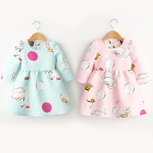 Factory Price! Baby Kids Girls Princess Tutu Dress Swan Print Long Sleeve One-Piece 2-7Years